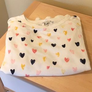 Joie white sweatshirt with hearts